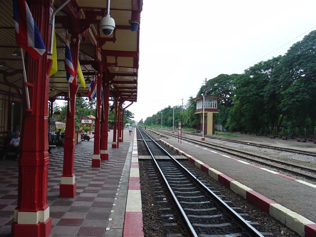 Der Bahnhof von Hua Hin in Richtung Süden...