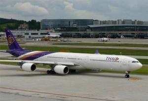 Die neue A340-600 der Thai Airways